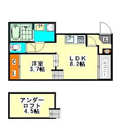 名古屋市営東山線 八田駅 徒歩4分の賃貸アパート 1階1LDKの間取り