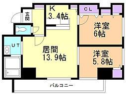 サンコート本郷通ガーデンヒルズ 14階2LDKの間取り