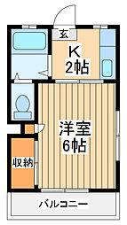JR横浜線 橋本駅 バス26分 大戸橋下車 徒歩1分の賃貸マンション 2階1Kの間取り