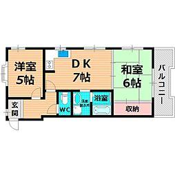 Osaka Metro長堀鶴見緑地線 蒲生四丁目駅 徒歩5分の賃貸マンション 6階2DKの間取り