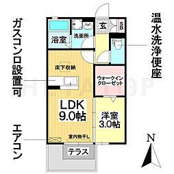 愛知県名古屋市南区豊田4丁目の賃貸アパートの間取り