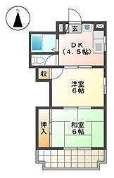 サンハイツ生駒[2階]の間取り