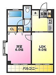 岡田ビル 3階1LDKの間取り