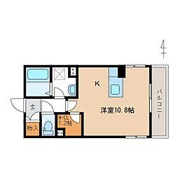 JR信越本線 長野駅 徒歩9分の賃貸マンション 2階ワンルームの間取り