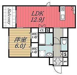 JR内房線 五井駅 徒歩8分の賃貸アパート 2階1LDKの間取り