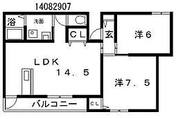 アミティエ帝塚山[3階]の間取り