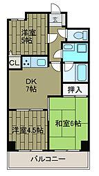 ライオンズマンション東林間第3[5階]の間取り