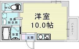 JR大阪環状線 野田駅 徒歩4分の賃貸マンション 7階ワンルームの間取り