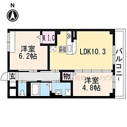 阪急京都本線 西山天王山駅 徒歩17分の賃貸マンション 1階2LDKの間取り