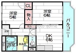 グリーンコーポ江坂第2[2階]の間取り