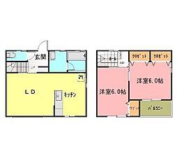 [テラスハウス] 茨城県つくばみらい市紫峰ヶ丘2丁目 の賃貸【/】の間取り