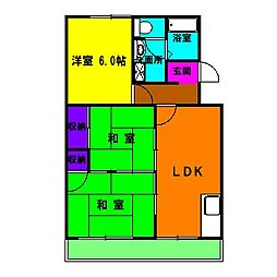 静岡県浜松市中区小豆餅3丁目の賃貸マンションの間取り