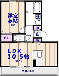 エスポワールII 3階1LDKの間取り