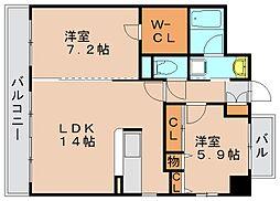 セゾンドール貝塚[8階]の間取り