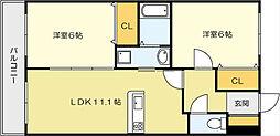ニューシティーアパートメンツ 南小倉II[7階]の間取り
