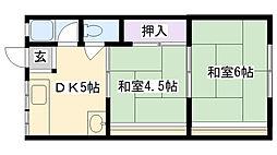 メゾン茨田[2D号室]の間取り