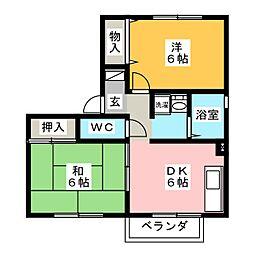 サウスガーデンBBII[2階]の間取り