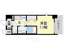 おおさか東線 JR淡路駅 徒歩2分の賃貸マンション 7階1Kの間取り