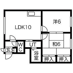 北海道札幌市西区発寒六条13丁目の賃貸アパートの間取り