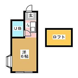 エステハイツ富士見台 A[1階]の間取り