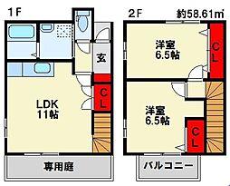 福岡県遠賀郡水巻町下二西2丁目の賃貸アパートの間取り