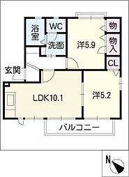 サンモール矢作C棟[2階]の間取り