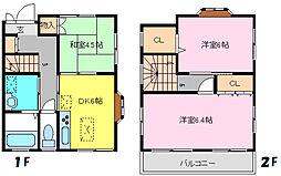 [一戸建] 千葉県松戸市大金平5丁目 の賃貸【/】の間取り
