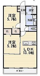 大阪府守口市橋波東之町2丁目の賃貸アパートの間取り