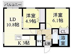 北海道札幌市中央区南12条西18丁目の賃貸マンションの間取り