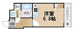 サンクチュアリ北梅田 8階ワンルームの間取り