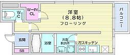 T's IZUMI 2階1Kの間取り