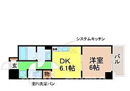 JR阪和線 鶴ヶ丘駅 徒歩5分の賃貸マンション 5階1DKの間取り