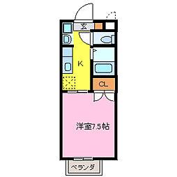 愛知県東海市加木屋町北平井の賃貸アパートの間取り