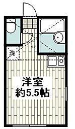 相鉄本線 西横浜駅 徒歩8分の賃貸アパート 2階1Kの間取り
