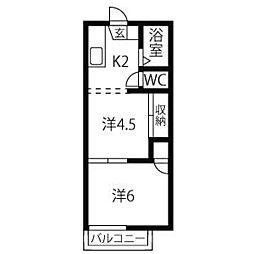 愛知県名古屋市名東区極楽4丁目の賃貸アパートの間取り