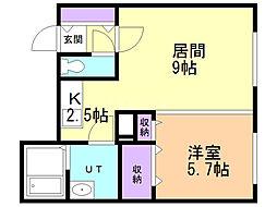 SAKURAコンフォートK 3階1LDKの間取り