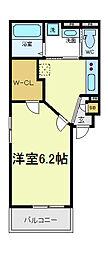 大阪府大阪市東住吉区北田辺6丁目の賃貸アパートの間取り