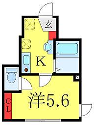 都営三田線 板橋本町駅 徒歩6分の賃貸アパート 1階1Kの間取り