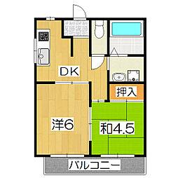 桃栄マンション[3A号室]の間取り