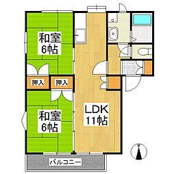 上津コーポA[1階]の間取り