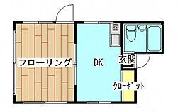 広島県広島市中区中町の賃貸マンションの間取り
