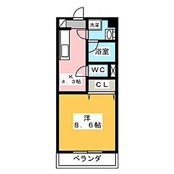静岡県磐田市千手堂の賃貸マンションの間取り