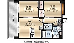 クリムゾン吉塚 11階2DKの間取り