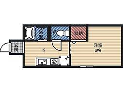 砂川ハウス 2階1Kの間取り