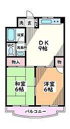 東京都日野市神明3丁目の賃貸マンションの間取り