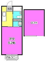 東京都東村山市萩山町3の賃貸アパートの間取り