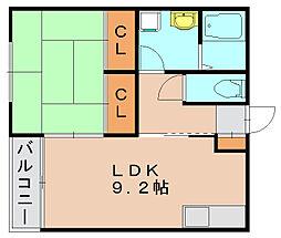 オアシス筥松[1階]の間取り