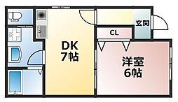 川西小花店舗付き住宅[2階]の間取り