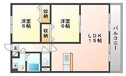岡山県岡山市南区東畦の賃貸アパートの間取り