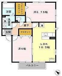 埼玉県志木市下宗岡3丁目の賃貸アパートの間取り